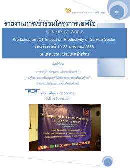 Workshop on ICT Impact on Productivity of Service Sector