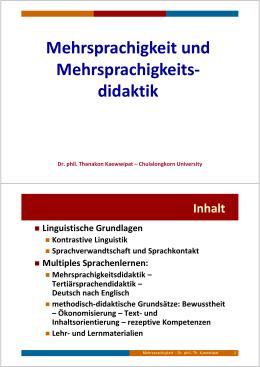 Mehrsprachigkeit und Mehrsprachigkeitsdidaktik