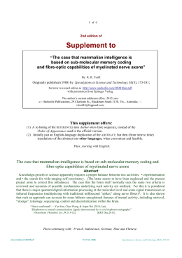 Supplement to - Ondwelle Home-page