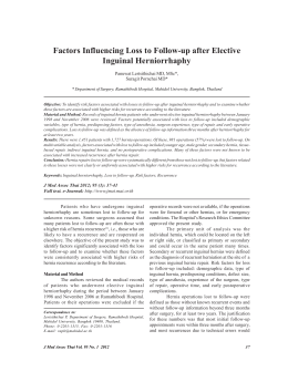 Factors Influencing Loss to Follow-up after Elective