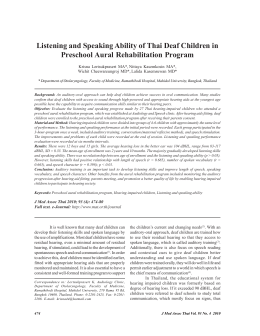 Listening and Speaking Ability of Thai Deaf Children