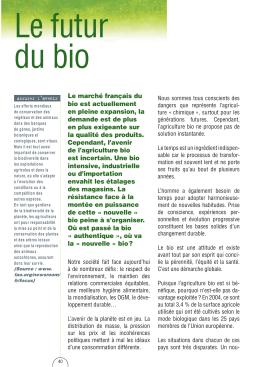 Le marché français du bio est actuellement en pleine expansion, la