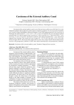 Carcinoma of the External Auditory Canal