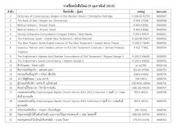 รายชื่อหนังสือใหม่ (9 กุมภาพันธ์ 2015) ลาดับ ชื่อหนังสือ – ผู้แต่ง เลขหมู่