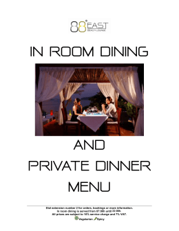 IN ROOM DINING AND PRIVATE DINNER MENU