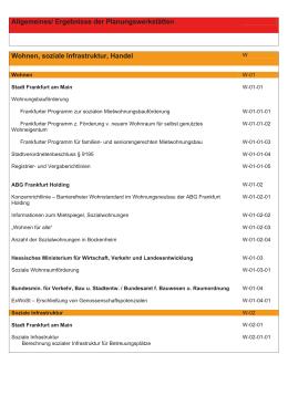 Allgemeines/ Ergebnisse der Planungswerkstätten Wohnen, soziale