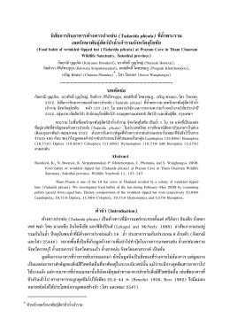 นิสัยการกินอาหารค  างคาวปากย  น (Tadarida plicata) ที่ถ้ํ .
