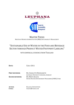 "master thesis ""sustainable use of water in the food and beverage"