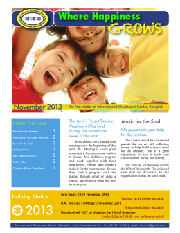 Montesorri Newsletter Nov - International Montessori Center