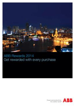 ABB Rewards 2014 Get rewarded with every purchase