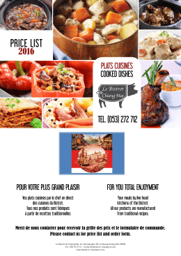 price list - Le Bistrot de Chiang Mai