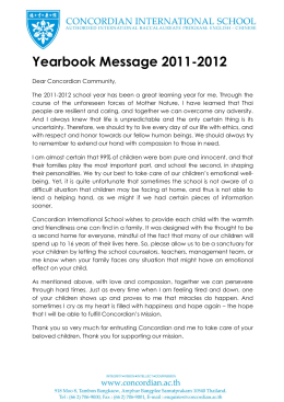 Yearbook Message 2011-2012 - Concordian International School