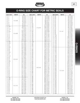 O-RING SIZE CHART FOR METRIC SEALS O-RINGS