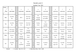 Timetable grade 1/1 Academic Year 2014