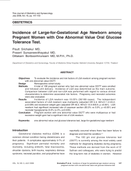 Incidence of Large-for-Gestational Age Newborn among Pregnant