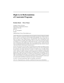 High-Level Reformulation of Constraint Programs