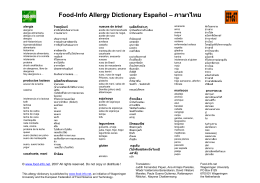 Food-Info Allergy Dictionary Español – ภาษาไทย - Food