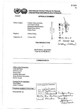 Prosecutor v. Akayesu, Corrigendum, File No. ICTR-96-4
