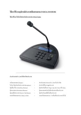 วิธีการใช้งานอุปกรณ์ประกาศเสียงตามสาย (VOCIA SYSTEM)