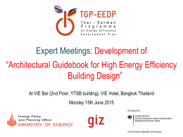Introduction to TGP-EEDP Project and Building Energy Code activities