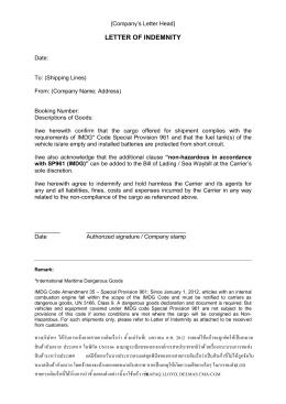 letter of indemnity ทางบริษัทฯ ได้รับการแจ้งจากสายการเดิ