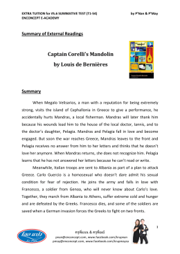 Captain Corelli`s Mandolin by Louis de Bernières