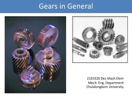 Gears in General