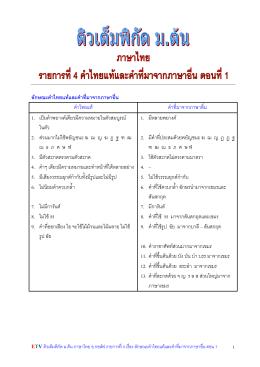 04.ลักษณะคำไทยแท้และคำที่มาจากภาษาอื่น ตอน 1
