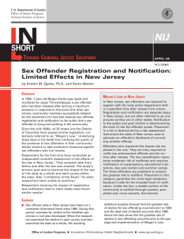 Sex Offender Registration and Notification: Limited Effects in New
