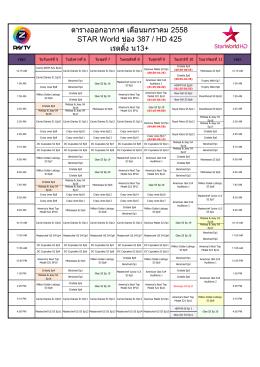 ตารางออกอากาศ เดือนมกราคม 2558 STAR World ช่อง 387