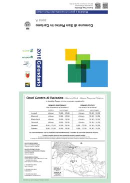 Ecocalendario 2016 zona A - Comune di San Pietro in Cariano