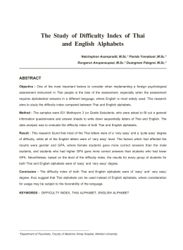The Study of Difficulty Index of Thai and English Alphabets