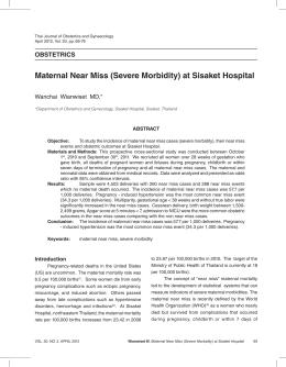 Maternal Near Miss (Severe Morbidity) at Sisaket Hospital