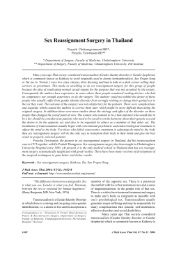 Sex Reassignment Surgery in Thailand