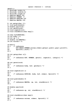 version 1 : novice rpcalc.c 1: #include  2: #include <stdlib.h
