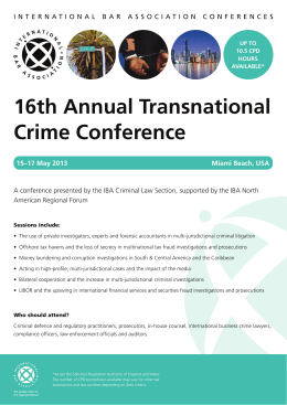 16th Annual Transnational Crime Conference