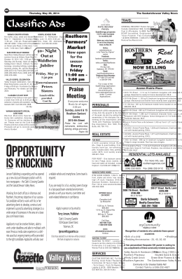 Opportunity - Saskatchewan Weekly Newspapers Association