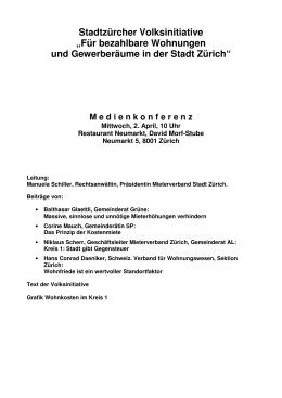 Für bezahlbare Wohnungen und Gewerberäume in der Stadt Zürich