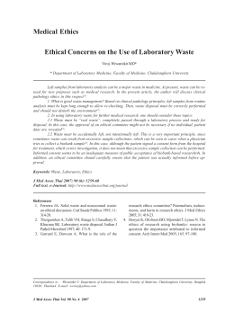 Ethical Concerns on the Use of Laboratory Waste