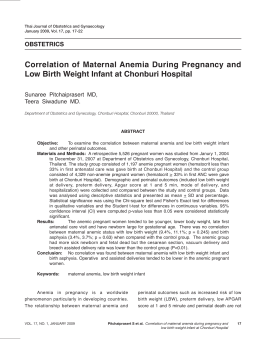 Correlation of Maternal Anemia During Pregnancy and Low