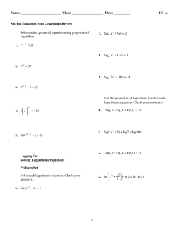 ExamView - Solving Equations with Logarithms Review.tst