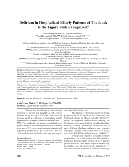Delirium in Hospitalized Elderly Patients of Thailand