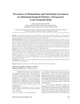 Prevalence of Malnutrition and Nutritional Assessment in Abdominal