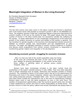 Meaningful Integration of Women in Living Economy