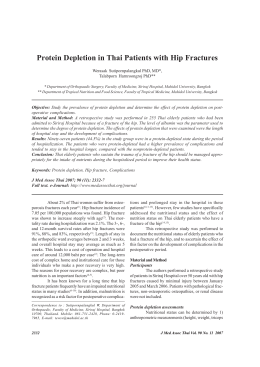 Protein Depletion in Thai Patients with Hip Fractures