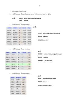 1. สร้าง DB ตามโจทย์กําหนด 2. จงใช้คําสั่ง sql เพื