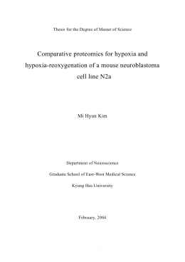 Comparative proteomics for hypoxia and hypoxia
