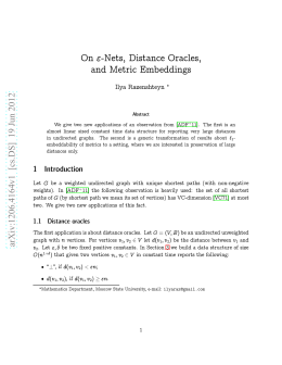On Epsilon-Nets, Distance Oracles, and Metric Embeddings