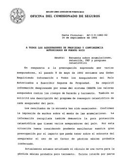 OFICINA DEL COMISIONADO DE SEGUROS a 105 a