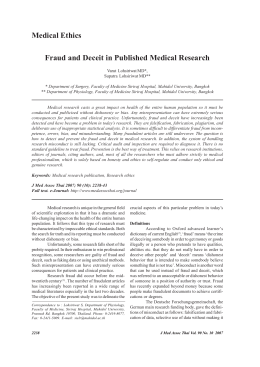 Fraud and Deceit in Published Medical Research